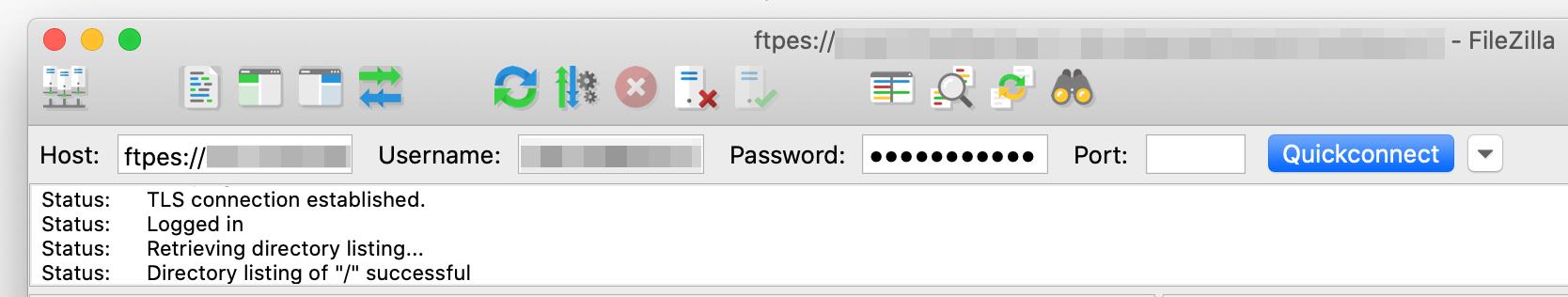 Connect to server via FileZilla