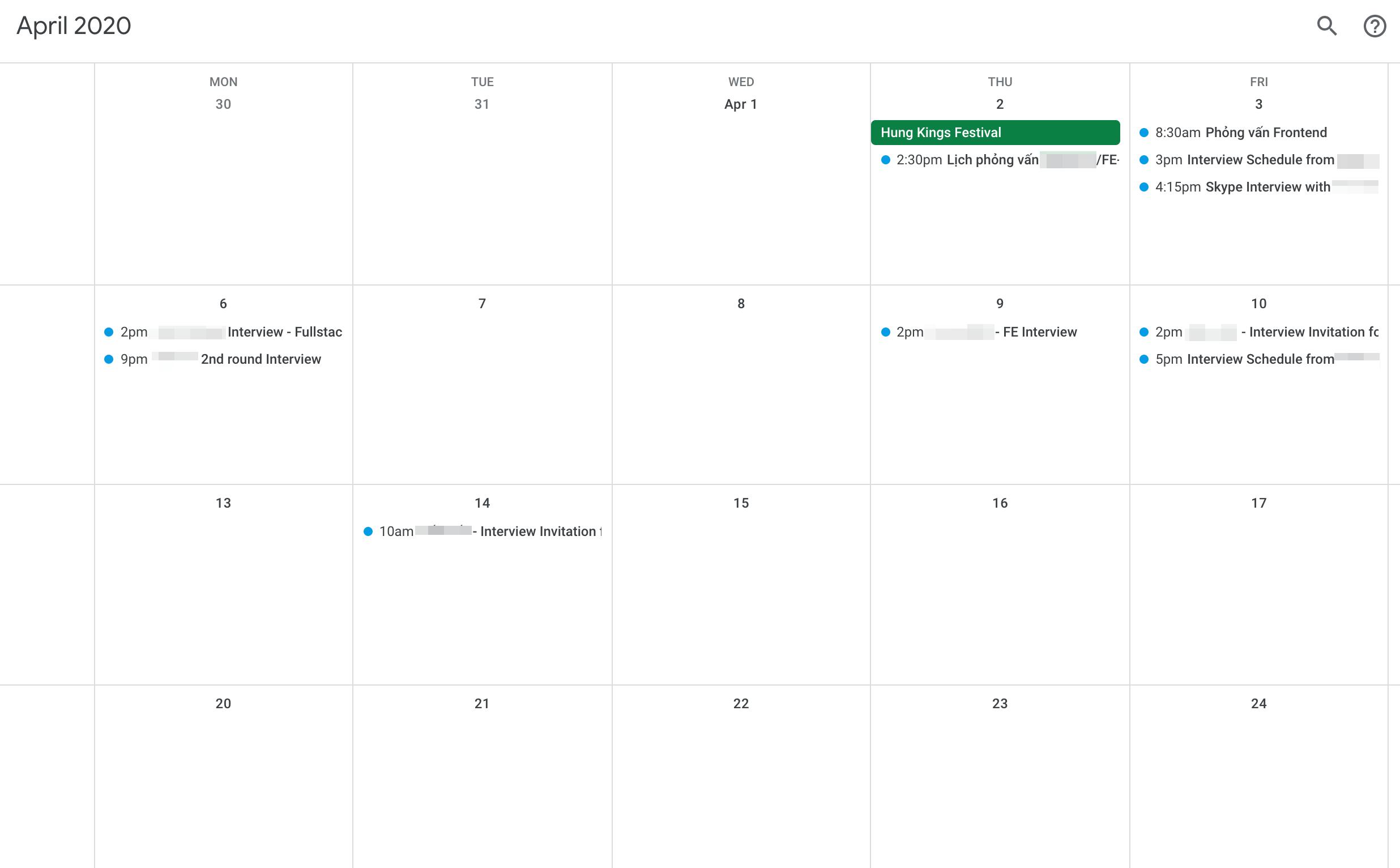 Interview Calendar